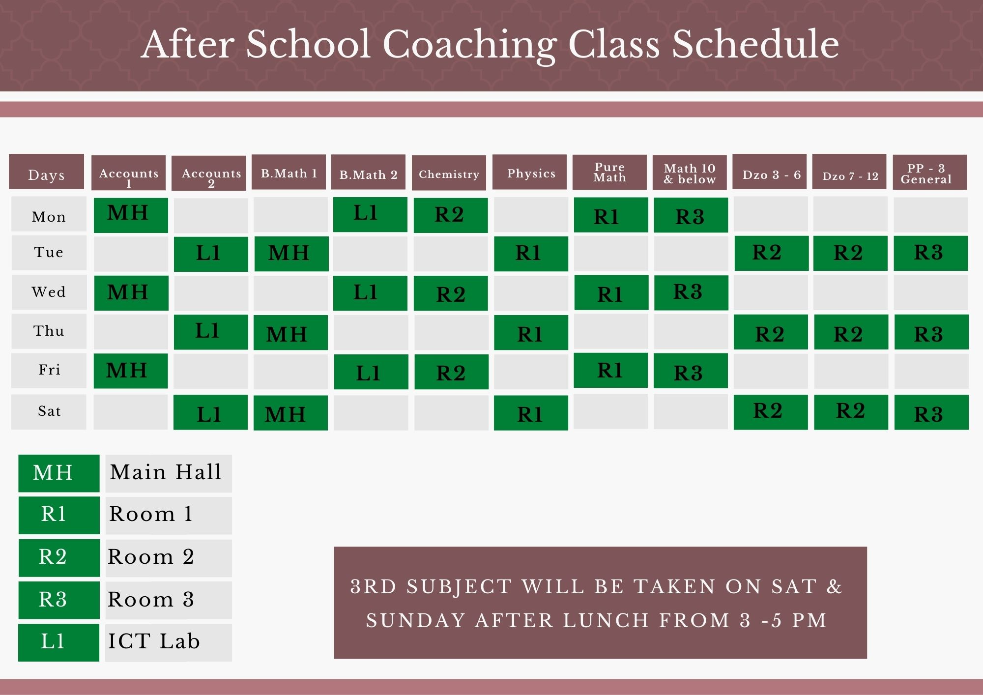 Gray Simple Class Schedule